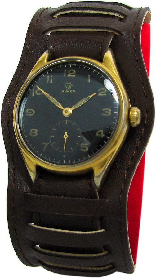 Bifora Anker 15 Steine Herren Uhr kleine Sekunde Ziffernblatt schwarz Armbanduhr men's watch wristwatch