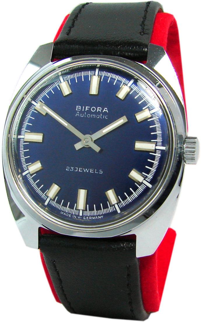 Bifora Automatic Herren - Armbanduhr Made in Germany blau mens watch 23 Jewels