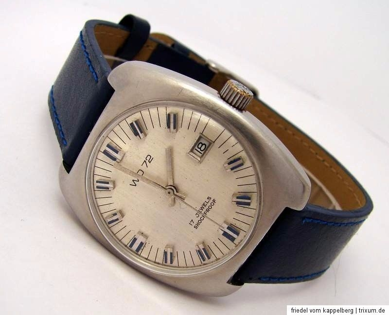 WD72 Handaufzug Herrenuhr Datum Leder blau silber vintage mens watch 17Jewels