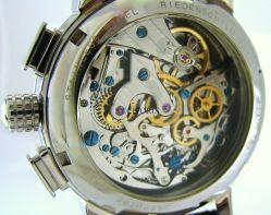 Riedenschild Chronograph Herrenuhr mechanisch Handaufzug Leder braun 17 Steine