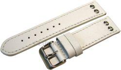 HEKTOR Germany Herren Flieger Uhrband weiß Leder Schrauben poliert matt 22mm