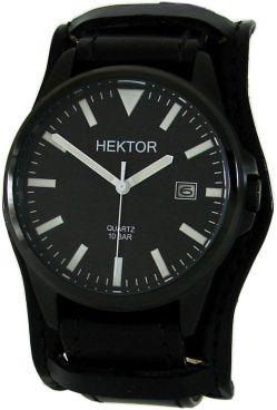 HEKTOR Militärpilot Herrenuhr Quarz schwarz Edelstahl Bund Uhrband Datum 10ATM