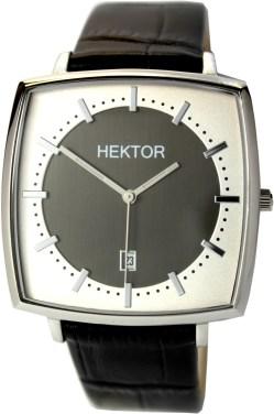 HEKTOR Monitor bicolor große viereckige Edelstahl Quarz Herrenuhr mit Lederband schwarz 38mm