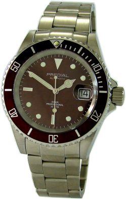 PREDIAL Automatic Taucher Herrenuhr 300m Sport Stahl Uhrband 30 ATM braun