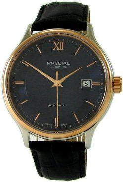 PREDIAL elegante Herrenuhr Automatic Stahl bicolor Lederband schwarz Saphirglas