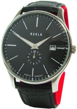 Ruhla Classic Herrenuhr Quarz Edelstahl Datum schwarz Made in Germany 42mm
