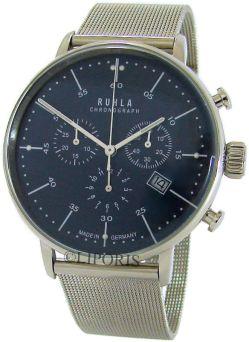 Ruhla Herrenuhr analog Quarz Chronograph blau Bauhaus Stil Milanaiseband 91205M