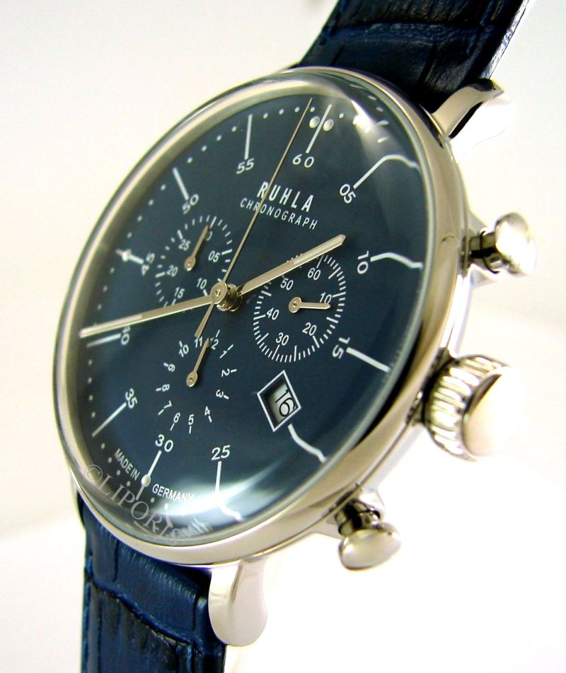 Ruhla Quarz Chronograph Herrenuhr analog blau Lederband Stil Bauhaus 91205