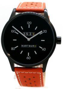 Wartburg 353S Herrenuhr analog Quarz Stahl schwarz gelochtes Lederband orange