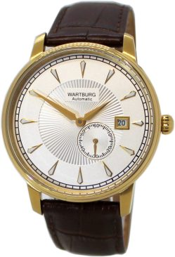 Wartburg Automatic Herrenuhr Stahl gold IP Lederband braun Datum 21Jewels 40mm
