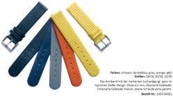 HEKTOR Kalbsleder Uhrband glatt mit Lochprägung verschiedene Farben lieferbar von 18mm bis 22mm Bandanstoß