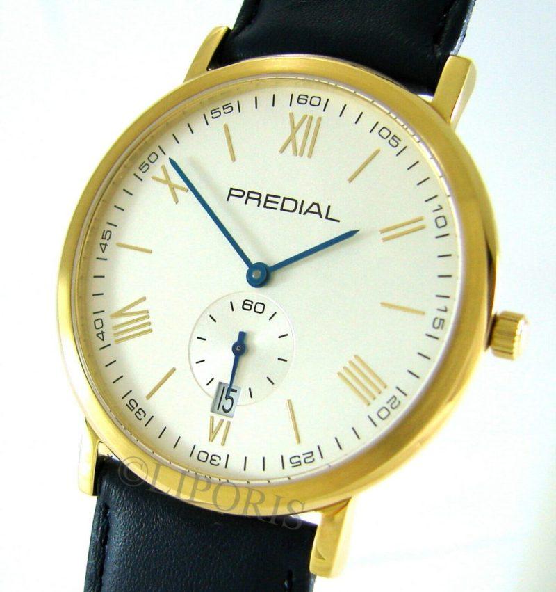PREDIAL Herrenuhr Quarz Stahl gold Saphirglas blau Leder Uhrband kleine Sekunde