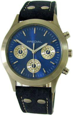 PREDIAL Unisex-Armbanduhr Quarz Chronograph Edelstahl Flieger Lederband blau