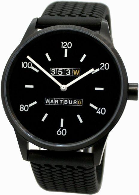 Wartburg Herrenuhr Germany 353W Quarz Edelstahl schwarz Reifenprofil Uhrband