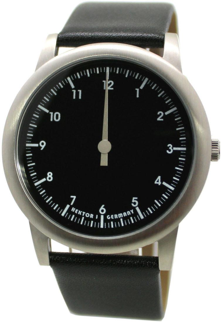 HEKTOR eins Germany elegante unisex Einzeiger Armbanduhr Quarz schwarz silber