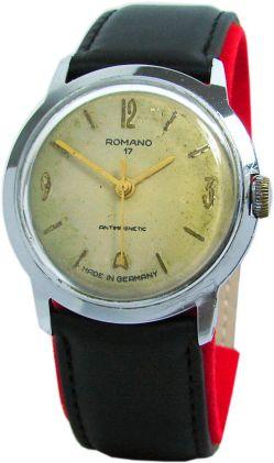 Romano 17 UMF Ruhla DDR Export mechanische Herrenuhr Lederband schwarz