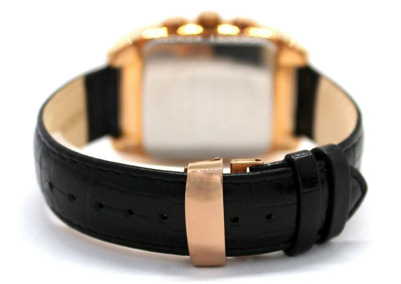pallas Herrenuhr Made in Germany großer Chronograph rose Quarz Datum Uhrband Leder schwarz