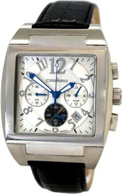 pallas Made in Germany Herrenuhr großer Chronograph Quarz Uhrband Leder schwarz