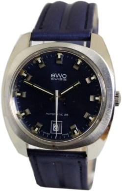 BWC Automatic 25 swiss made Herrenuhr mit Datum Automatik Uhr blau
