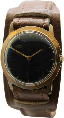 UMF Ruhla Germany DDR Herrenuhr Unterlagenband braun mens watch GDR Kaliber 23-32