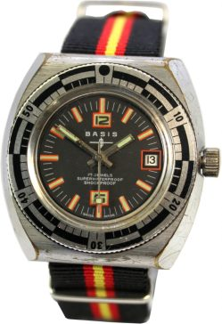 Basis swiss made Herren Taucher Sport Herren Uhr Drehlünette Durchzugsband schwarz rot gold fluoreszierende Indexe Datum