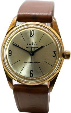 Ruhla Herrenuhr Handaufzug Made in Germany Armbanduhr gold Uhrband braun