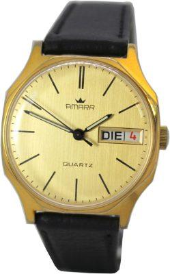 Amara Herrenuhr day date Tag und Datum Quartz vintage Quarz Uhr Ziffernblatt und Gehäuse gold Lederband schwarz