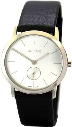 Alfex Damenuhr kleine Sekunde 5551 Saphirglas swiss made Edelstahl Uhr 3 ATM original Lederband schwarz