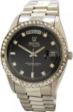 Ricoh dynamic wide Automatic 21 Jewels Datum Edelstahl Damenuhr schwarz mit Schmucksteinen verziert