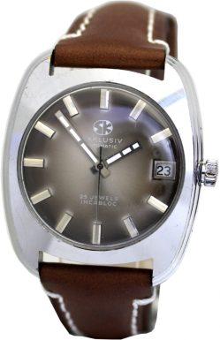 SK exclusiv Automatik Herrenuhr 25 Steine Jewels Lederband braun