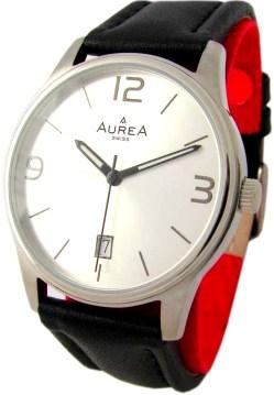 Aurea swiss made Quarz Herrenuhr mit Datum Lederband schwarz silber 38mm