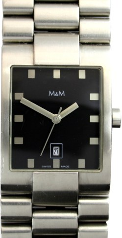 M&M Edelstahl Damenuhr 5391 Quarz swiss made Datum 36mm x 26mm