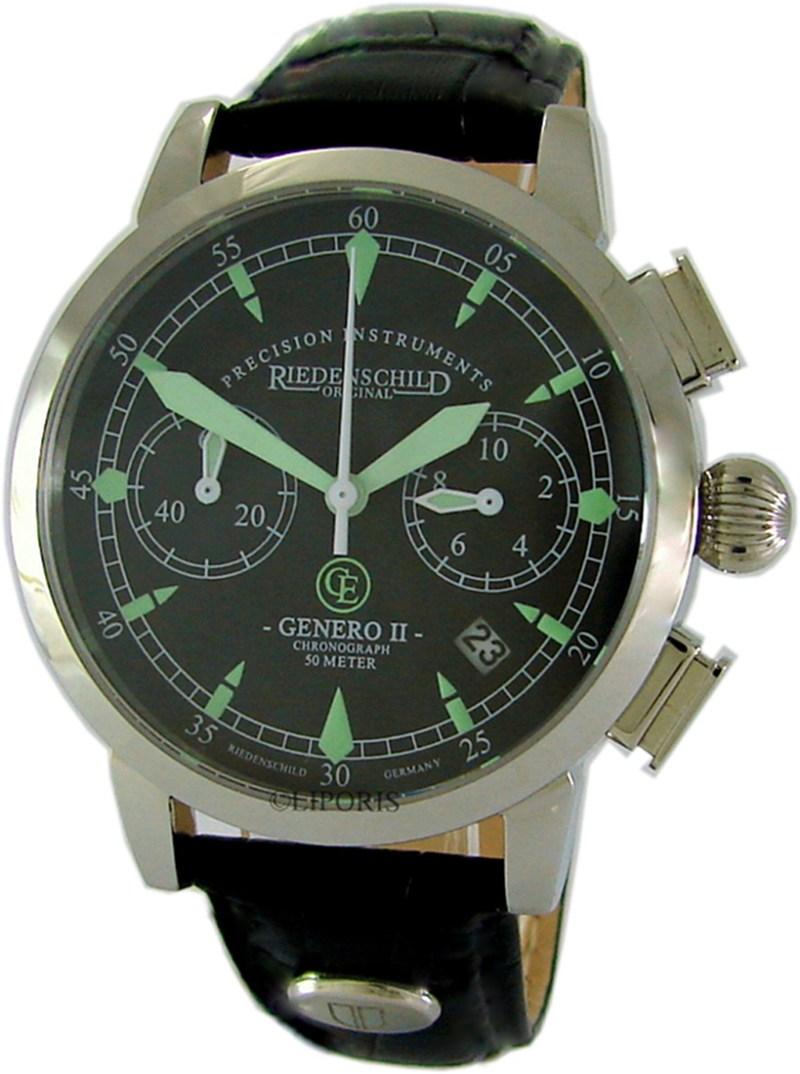 Riedenschild Genero II Chronograph Herrenuhr Quarz Edelstahl Lederband schwarz 5 ATM 1162