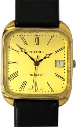 Predial Herrenuhr swiss made Quartz mit Datum Uhrenarmband Leder neu schwarz 32,5mm x 32mm
