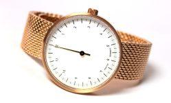 HEKTOR eins Einzeiger Uhr Quarz Edelstahl rose Milanaiseband 40mm
