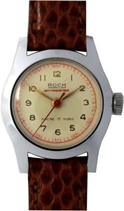 Roch Damenuhr mechanisch Ancre 15 Rubis vintage Lederband braun 25mm