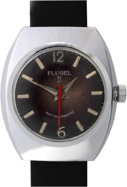 Flugel 21 Herrenuhr Handaufzug Zifferblatt braun Lederband schwarz neu 36mm x 42mm