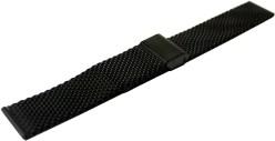 HEKTOR Milanaise Edelstahl schwarz IP dickes Uhrenarmband Klappschließe Anstoß 20mm