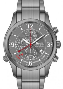 Garde Ruhla Herren Alarm Chronograph Titanuhr Saphirglas 10 atm 41mm 91042