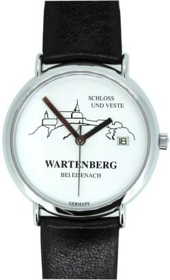 Wartenberg Schloß und Veste Germany Quarz Damen Uhr weiß mit Datum Lederband schwarz 34mm