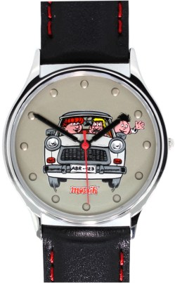 Armbanduhr Auto Motiv DDR Edelstahl Made in Germany Lederband schwarz rote Naht 34mm 10-5