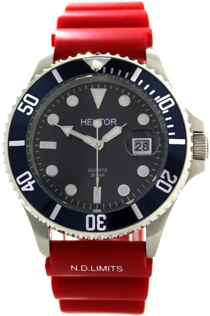 HEKTOR-30BAR-SPORT-Stahl-Herrenuhr-blau-Krone-geschraubt-Taucherband-rot
