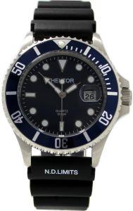 HEKTOR-30BAR-SPORT-Stahl-Herrenuhr-blau-Krone-geschraubt-Taucherband-schwarz
