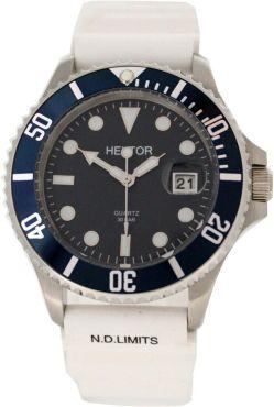 HEKTOR-30BAR-SPORT-Stahl-Taucher-Herrenuhr-blau-Krone-geschraubt-Uhrband-weiss