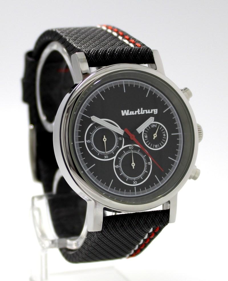 Wartburg Herrenuhr Quarz Chronograph Edelstahl poliert Uhrband grau schwarz