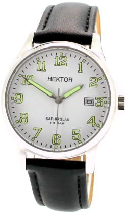 Hektor-Arbeitsuhr-Zifferblatt weiß-Lederband