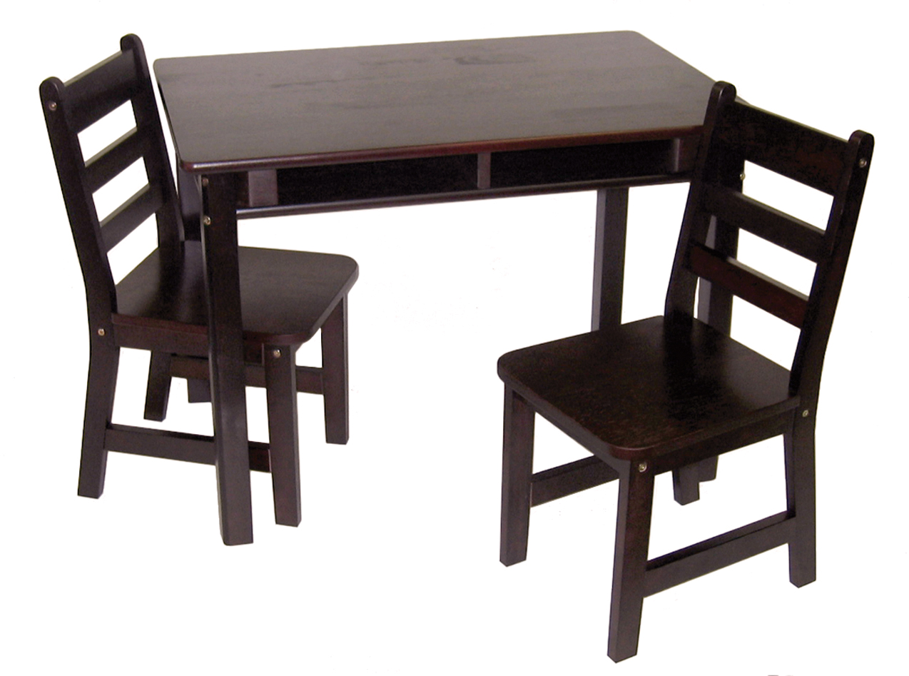 Table With 2 Chairs Child S Rectangular Table With Shelves 2 Chairs Espresso Finish