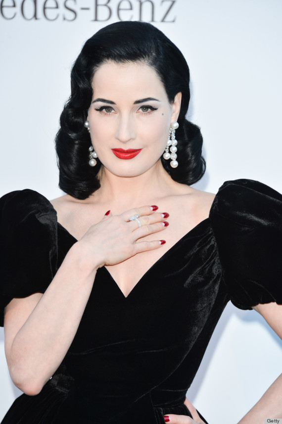 CAP D'ANTIBES, FRANCE - MAY 23: Dita Von Teese arrives at amfAR's 20th Annual Cinema Against AIDS at Hotel du Cap-Eden-Roc on May 23, 2013 in Cap d'Antibes, France. (Photo by George Pimentel/WireImage)