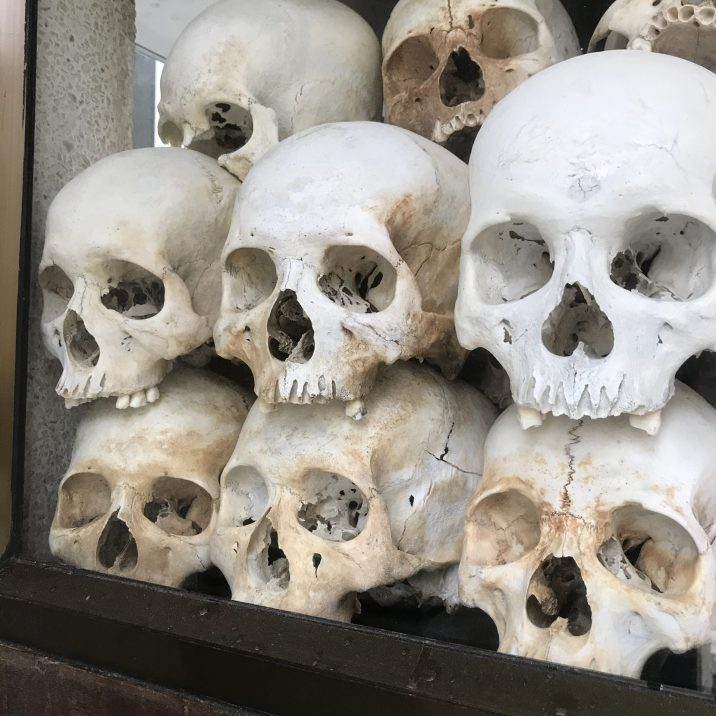 Skulls of several Khmer Rouge victims