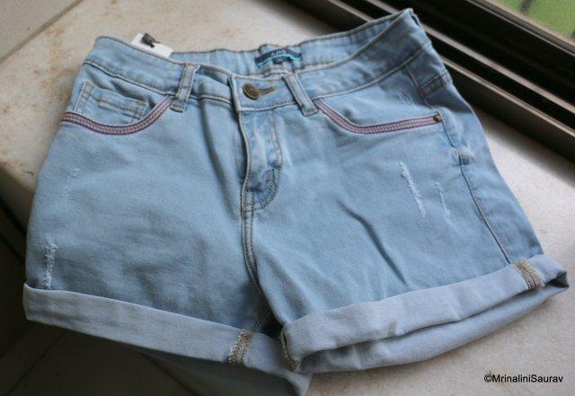 Light Blue Distressed Denim Short Ajio For Petite Women